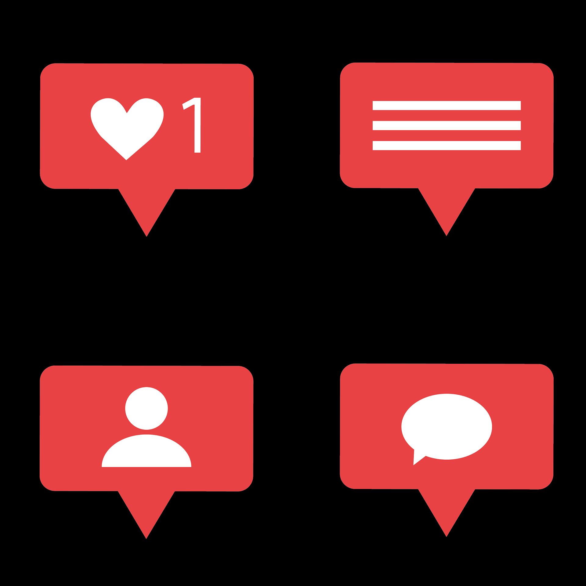 Icone Notifiche Social media