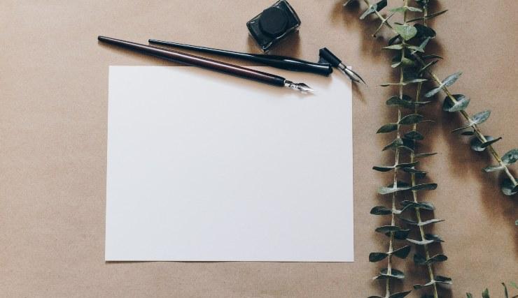 Foglio bianco per scrittura
